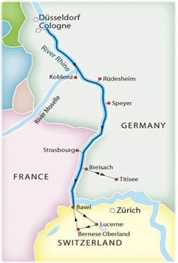 Rudesheim Germany Map.Itinerary 7 Nights Castles On The Rhine River Cruise